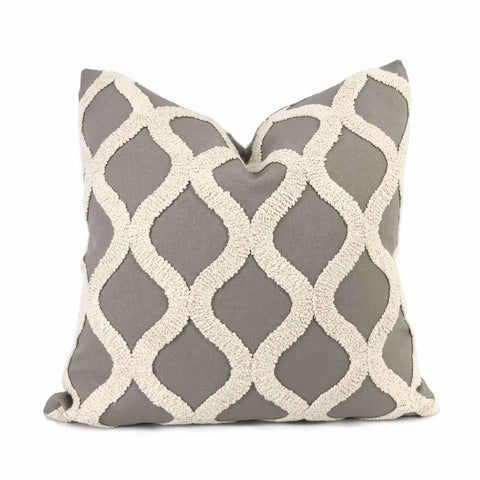 Carlyle Boucle Embroidered Gray & Cream Trellis Pillow Cover Cushion Pillow Case Euro Sham 16x16 18x18 20x20 22x22 24x24 26x26 28x28 Lumbar Pillow 12x18 12x20 12x24 14x20 16x26 by Aloriam