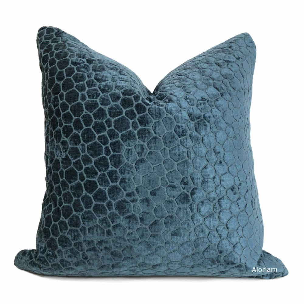 Carrick Navy Blue Modern Geometric Chenille Pillow Cover - Aloriam