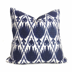Lacefield Designs Casablanca Ikat Morrocan Tile Blue White Cotton Print Pillow Cover