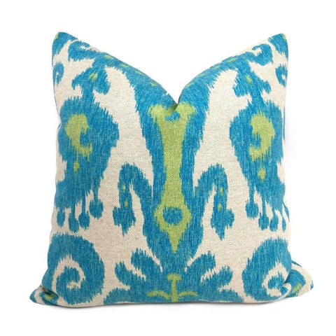 Lacefield Casbah Lagoon Turquoise Blue Green Beige Ethnic Ikat Pillow Cover