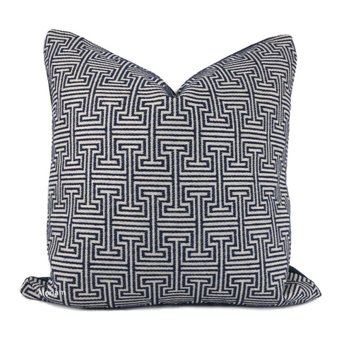 Cassius Navy Blue Greek Key Pillow Cover - Aloriam