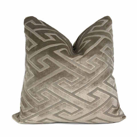 Castel Maison Bosco Sable Brown Greek Key Cut Velvet Pillow Cover - Aloriam