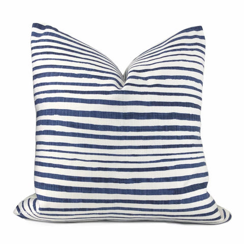 Catalina Blue White Stripe Pillow Cover - Aloriam