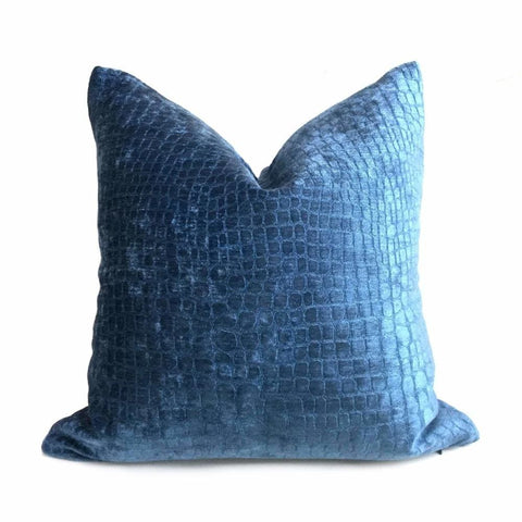 Cerulean Blue Crocodile Alligator Shiny Chenille Velvet Pillow Cover