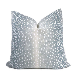 Cervidae Denim Blue White Deer Hide Animal Print Pillow Cover Cushion Pillow Case Euro Sham 16x16 18x18 20x20 22x22 24x24 26x26 28x28 Lumbar Pillow 12x18 12x20 12x24 14x20 16x26 by Aloriam