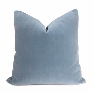 Chambray Blue Velvet Pillow Cover Cushion Pillow Case Euro Sham 16x16 18x18 20x20 22x22 24x24 26x26 28x28 Lumbar Pillow 12x18 12x20 12x24 14x20 16x26 by Aloriam