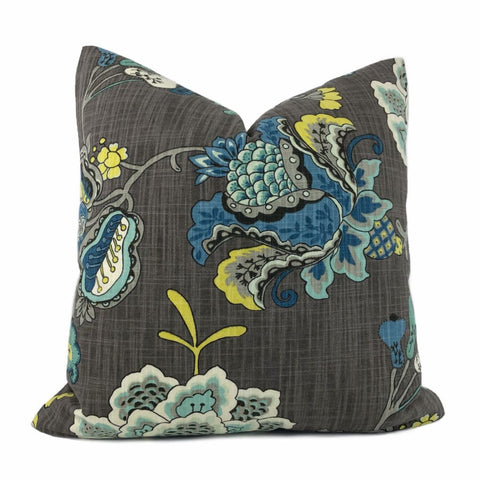 Charlotte Gray Blue Jacobean Floral Print Pillow Cover - Aloriam