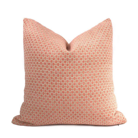 Chelsea Peachy Pink Geometric Chenille Pillow Cover Cushion Pillow Case Euro Sham 16x16 18x18 20x20 22x22 24x24 26x26 28x28 Lumbar Pillow 12x18 12x20 12x24 14x20 16x26 by Aloriam