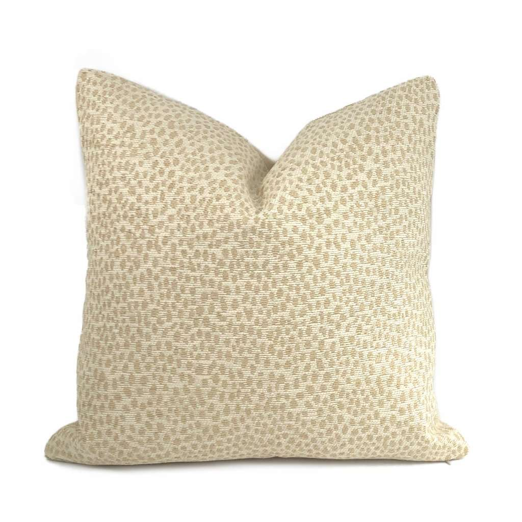Chester Biscuit Beige Chenille Dots Pillow Cover Cushion Pillow Case Euro Sham 16x16 18x18 20x20 22x22 24x24 26x26 28x28 Lumbar Pillow 12x18 12x20 12x24 14x20 16x26 by Aloriam