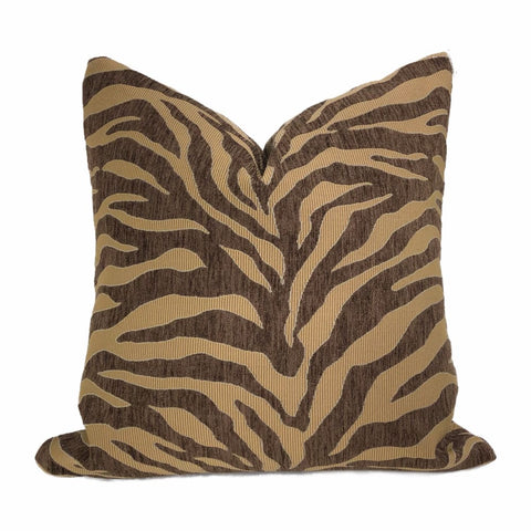 Chocolate Caramel Brown Tiger Animal Stripe Pillow Cushion Cover - Aloriam