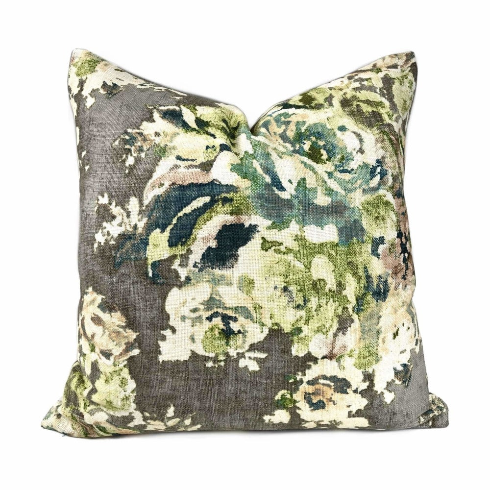 Cinder Gray Aphrodite Floral Cotton Linen Print Pillow Cover 20x20