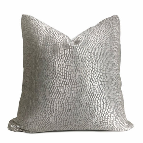 Cinna Silver Gray Abstract Tile Pillow Cover - Aloriam
