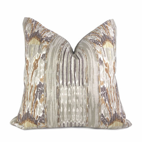 Clarence House Mazar I Sharif Gray Ikat Handprint Linen Pillow Cover - Aloriam