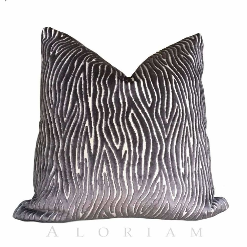 Clarke & Clarke Onda Smoky Brown Purple Cut Velvet Faux Bois Abstract Pillow Cushion Cover - Aloriam