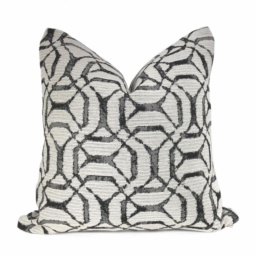 Clayton Black Off-White Lattice Pillow Cover - Aloriam