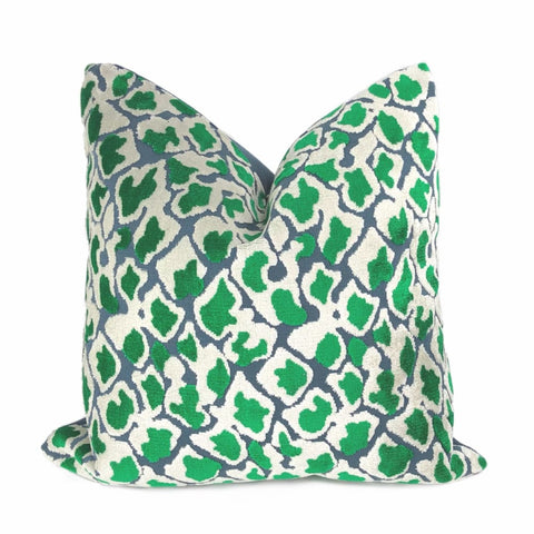 Coco Blue Green Leopard Velvet Pillow Cover - Aloriam