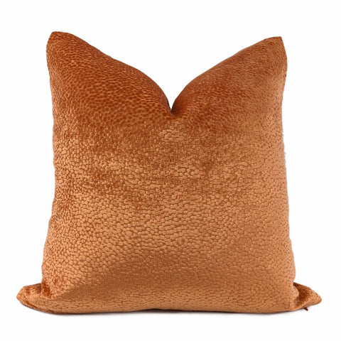 Comtessa Tangerine Orange Velvet Dots Pillow Cover - Aloriam