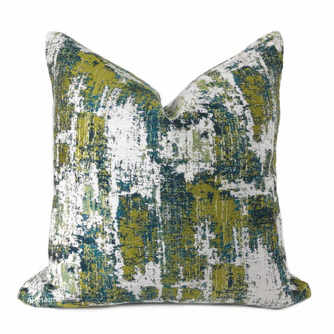 Conti Green Teal White Abstract Woven Texture Pillow Cover - Aloriam