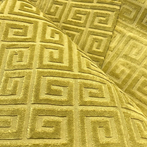 Cornelius Chartreuse Greek Key Geometric Velvet Pillow Cover - Aloriam