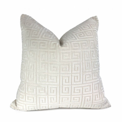 Cornelius Warm White Greek Key Geometric Velvet Pillow Cover - Aloriam
