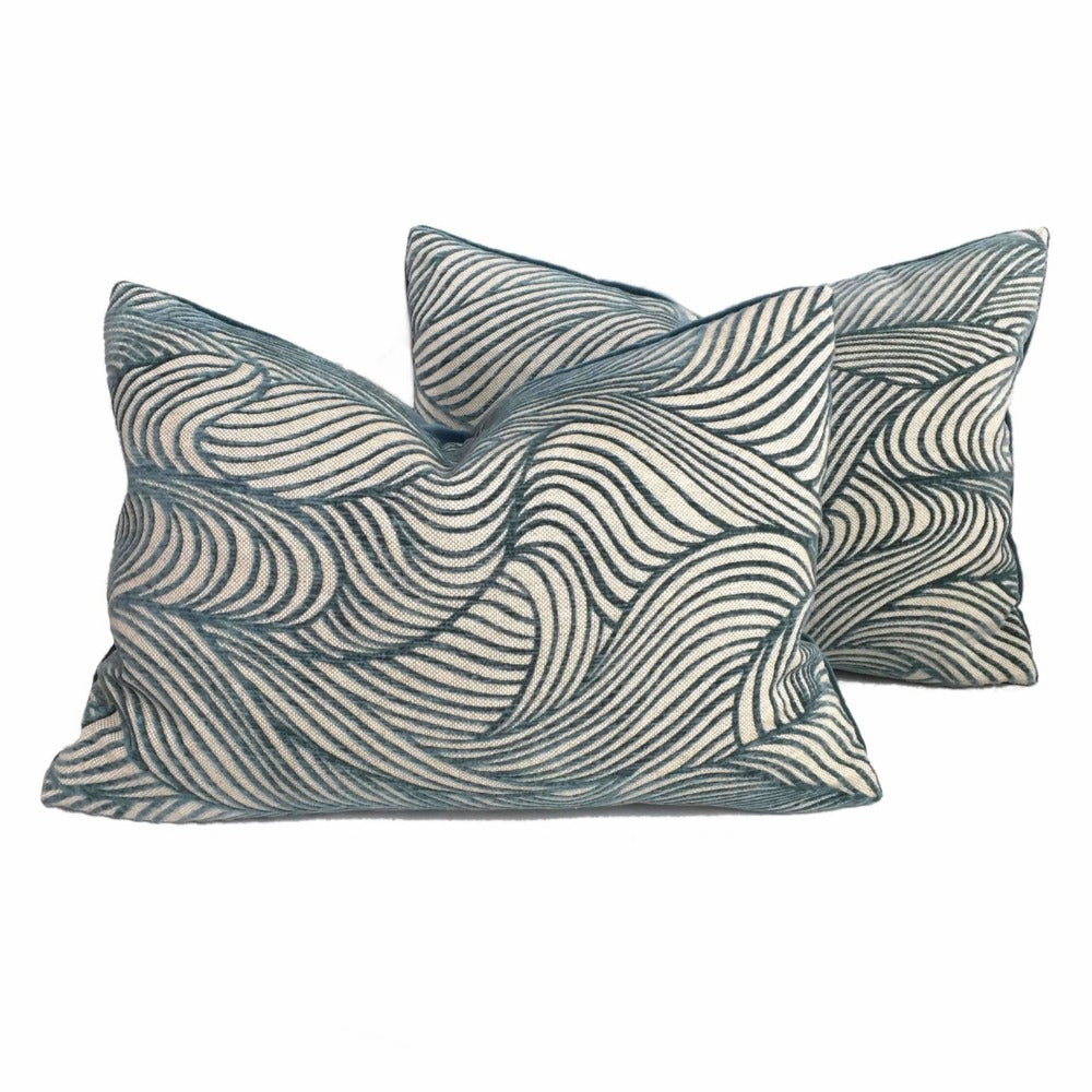 Cowtan & Tout Jane Churchill Cut Velvet Dunes Abstract Waves Teal Turquoise Blue Green Pillow Cushion Cover by Aloriam