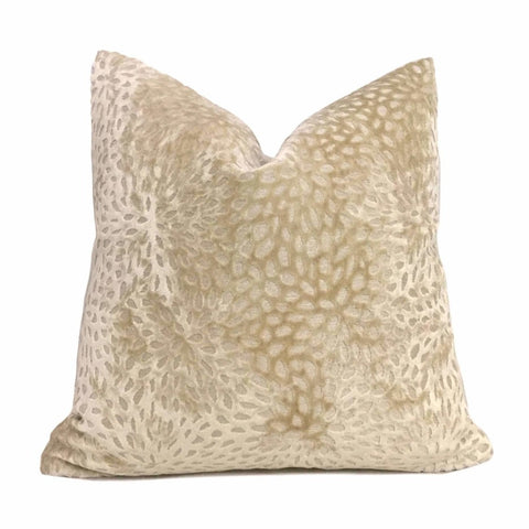 Cream Floral Web Velvet Pillow Cover Cushion Pillow Case Euro Sham 16x16 18x18 20x20 22x22 24x24 26x26 28x28 Lumbar Pillow 12x18 12x20 12x24 14x20 16x26 by Aloriam