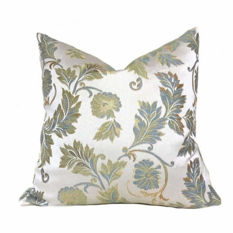 Cream Gold Green Blue Brown Floral Botanical Pattern Pillow Cover