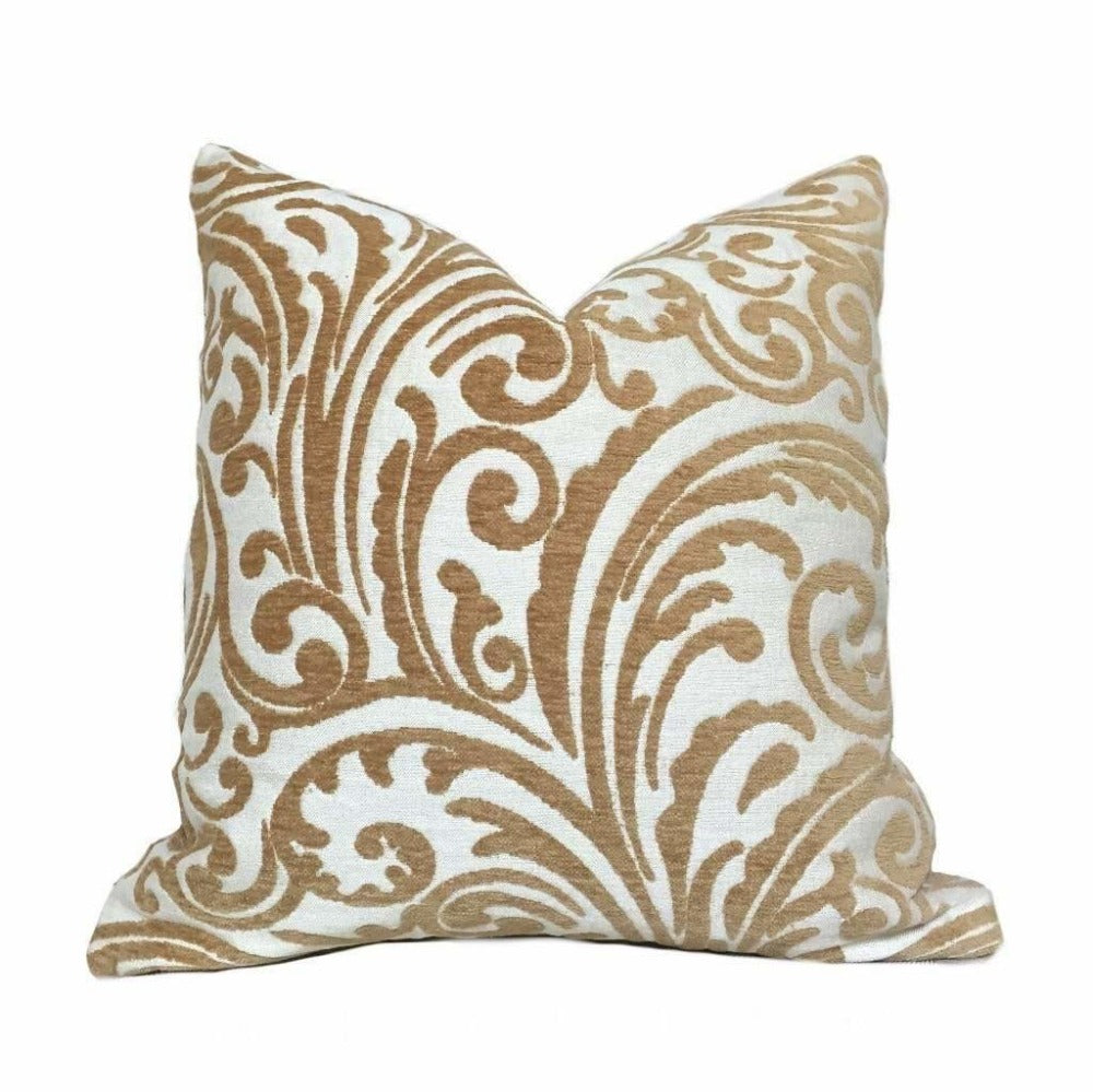 Cream Golden Brown Floral Scrollwork Pattern Chenille Pillow Cushion Zipper Cover
