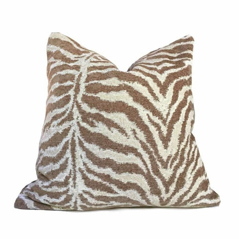 Cream & Sand Tiger Animal Stripe Pattern Chenille Pillow Cover Cushion Pillow Case Euro Sham 16x16 18x18 20x20 22x22 24x24 26x26 28x28 Lumbar Pillow 12x18 12x20 12x24 14x20 16x26 by Aloriam
