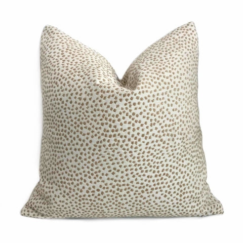 Cream Beige Textured Small Animal Dots Chenille Pillow Cover