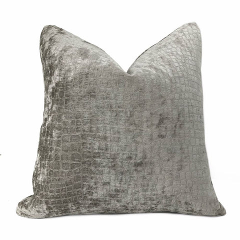 Crocodile Alligator Reptile Pattern Texture Medium Gray Velvet Gray Pillow Cover - Aloriam