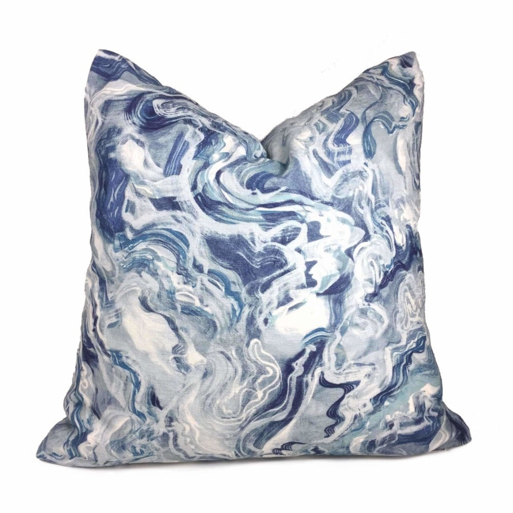 Blue White Water Ripples Cotton Print Pillow Cover