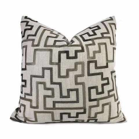 Cypher Bronze Beige Embroidered Maze Linen Pillow Cover - Aloriam