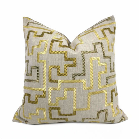 Cypher Metallic Gold Beige Embroidered Maze Linen Pillow Cover