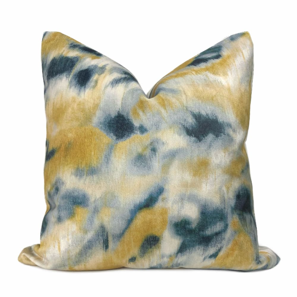 Cyri Navy Blue & Gold Abstract Print Velvet Pillow Cover - Aloriam