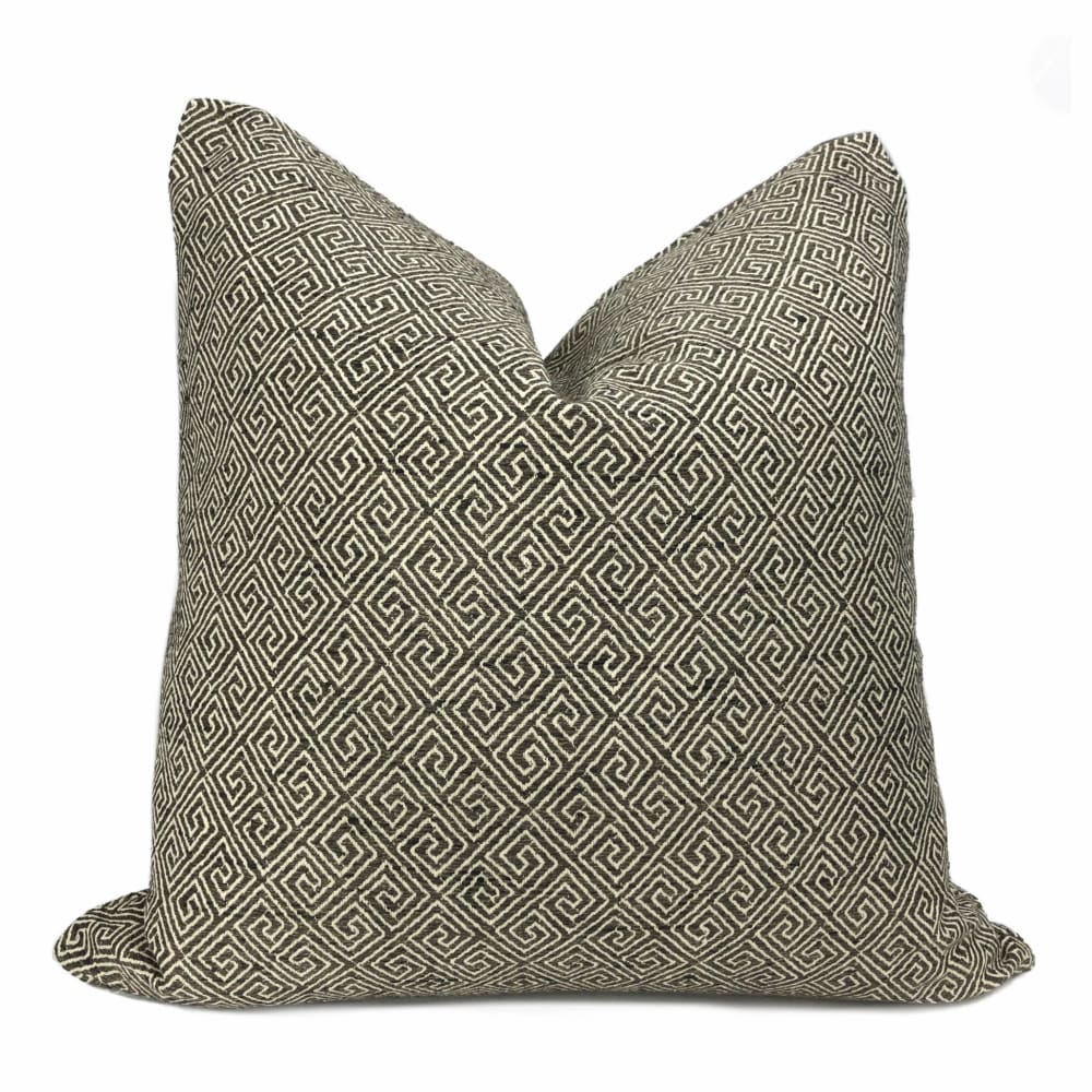 Darius Dark Brown Greek Key Pillow Cover - Aloriam