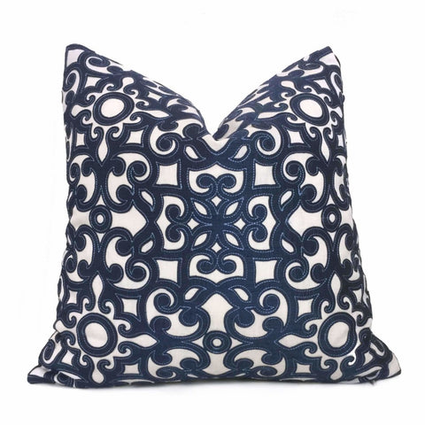 Dark Blue Cream Scrollwork Motif Applique Embroidered Pillow Cover Cushion Pillow Case Euro Sham 16x16 18x18 20x20 22x22 24x24 26x26 28x28 Lumbar Pillow 12x18 12x20 12x24 14x20 16x26 by Aloriam