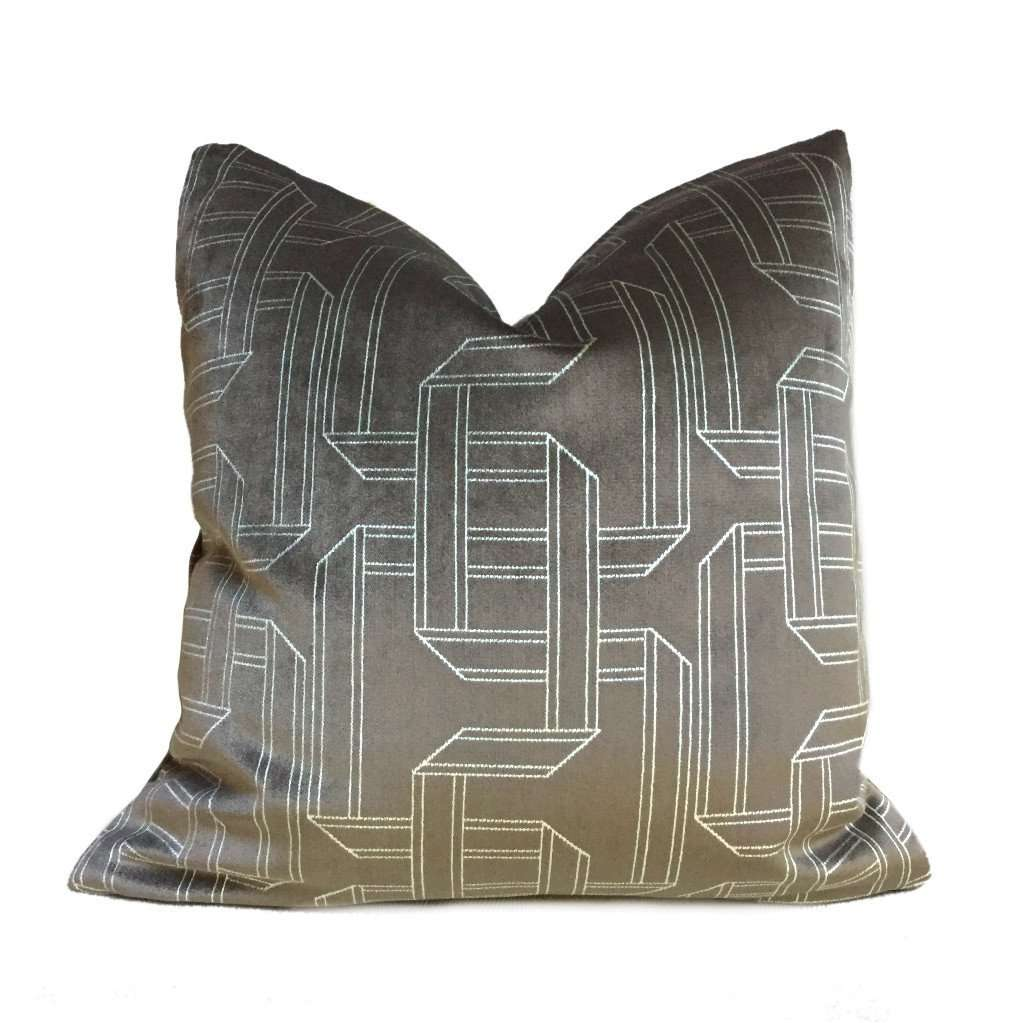 Dark Brown Silver Gray Velvet Geometric Pattern Pillow Cover by Aloriam