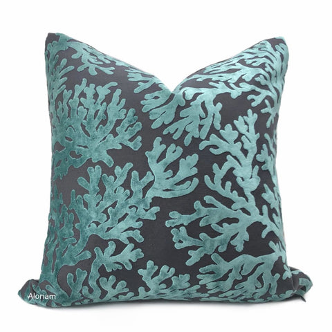 Del Mar Aquamarine Gray Coral Reef Velvet Pillow Cover - Aloriam