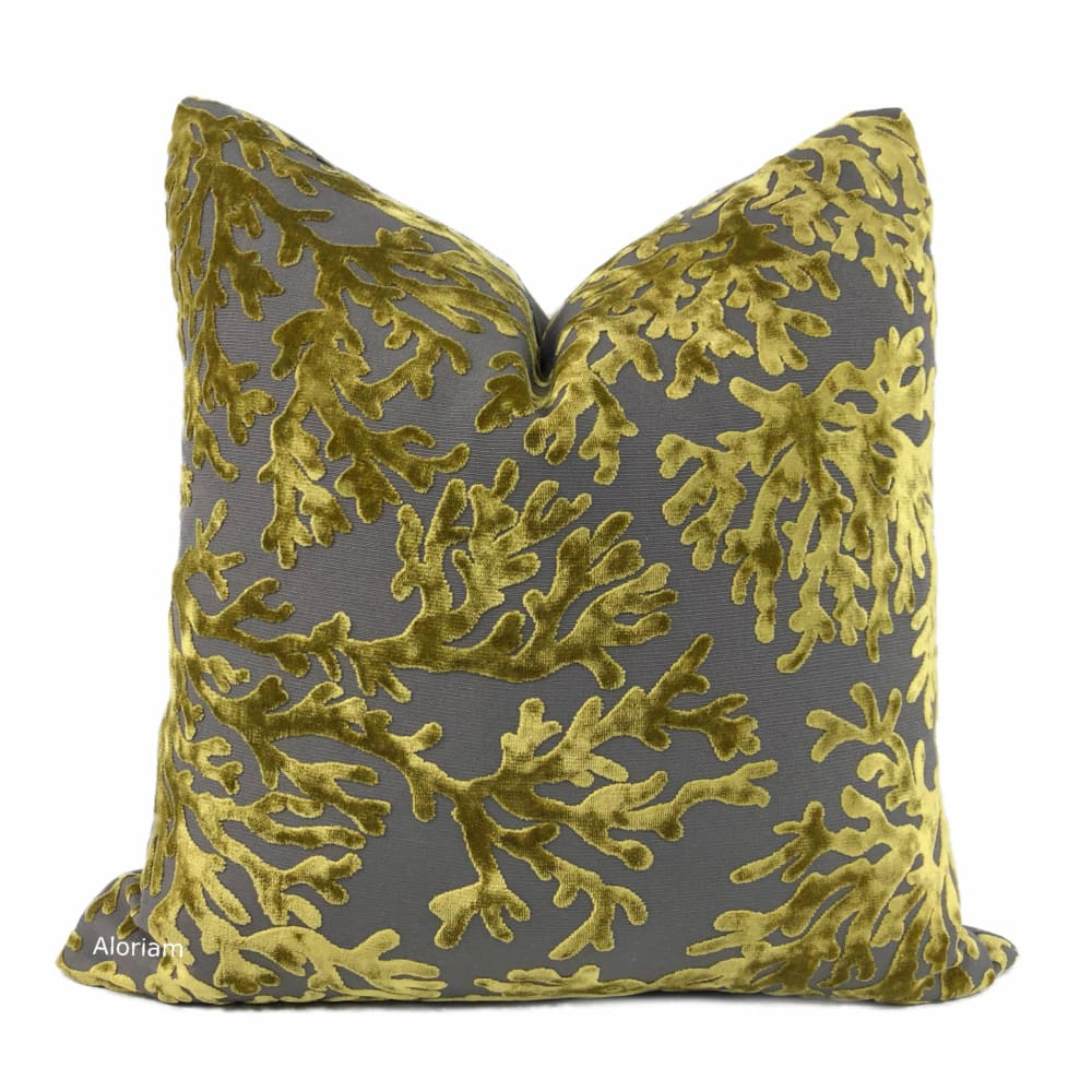 Del Mar Citronella Greenish Gold Gray Coral Reef Velvet Pillow Cover Aloriam