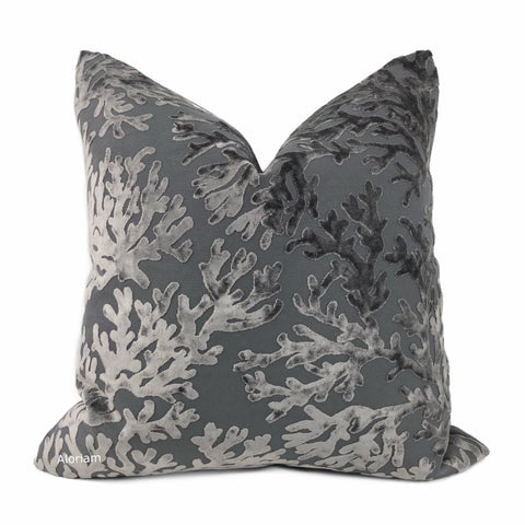 Del Mar Gray Coral Reef Velvet Pillow Cover - Aloriam