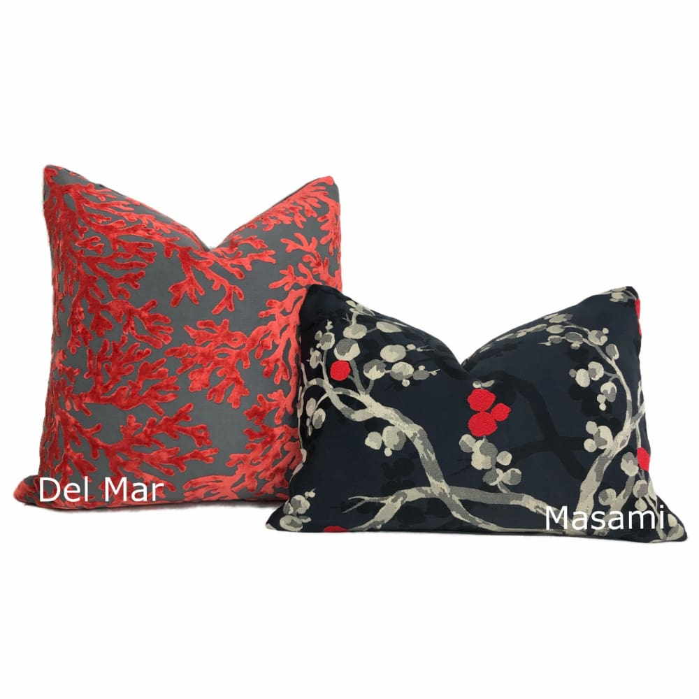 Del Mar Red Gray Coral Reef Velvet Pillow Cover Aloriam