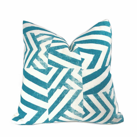 Delancey Teal Green White Modern Crosshatch Pillow Cover - Aloriam