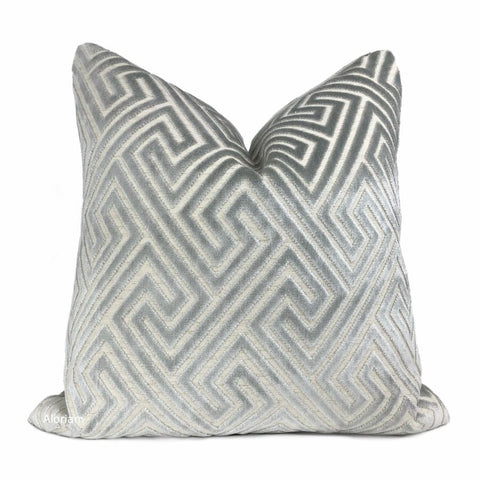 Delphi Cloud Gray Greek Key Cut Velvet Pillow Cover - Aloriam