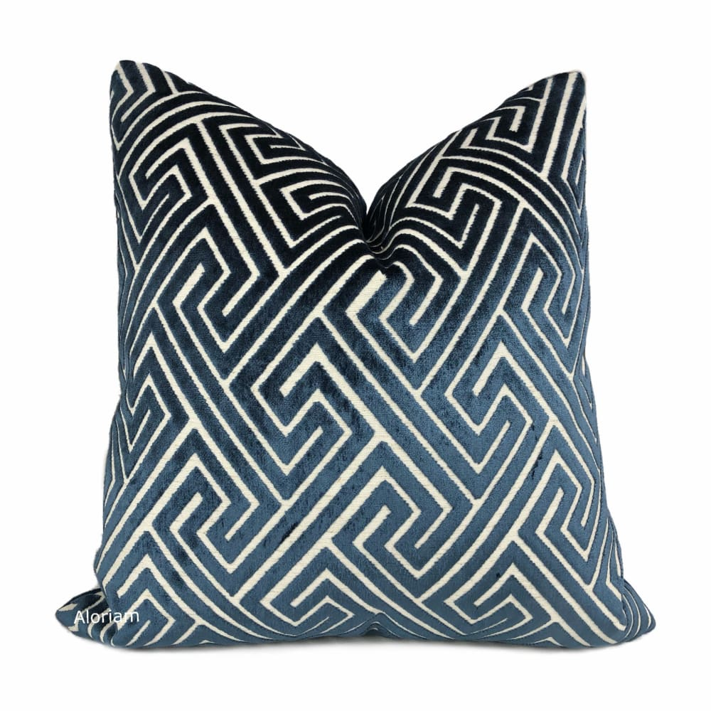 Delphi Navy Blue Greek Key Cut Velvet Pillow Cover - Aloriam