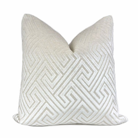 Delphi Pearl White Greek Key Cut Velvet Pillow Cover - Aloriam