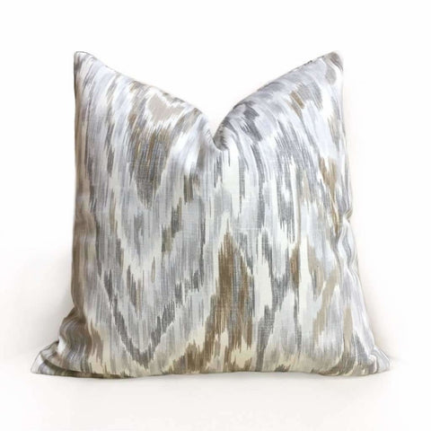 Designer Abstract Ethnic Ikat Gray Brown Off-White Cotton Print Pillow Cover by Aloriam