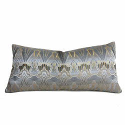 Designer Art Deco Gray Gold Textured Pillow Cover by Aloriam
