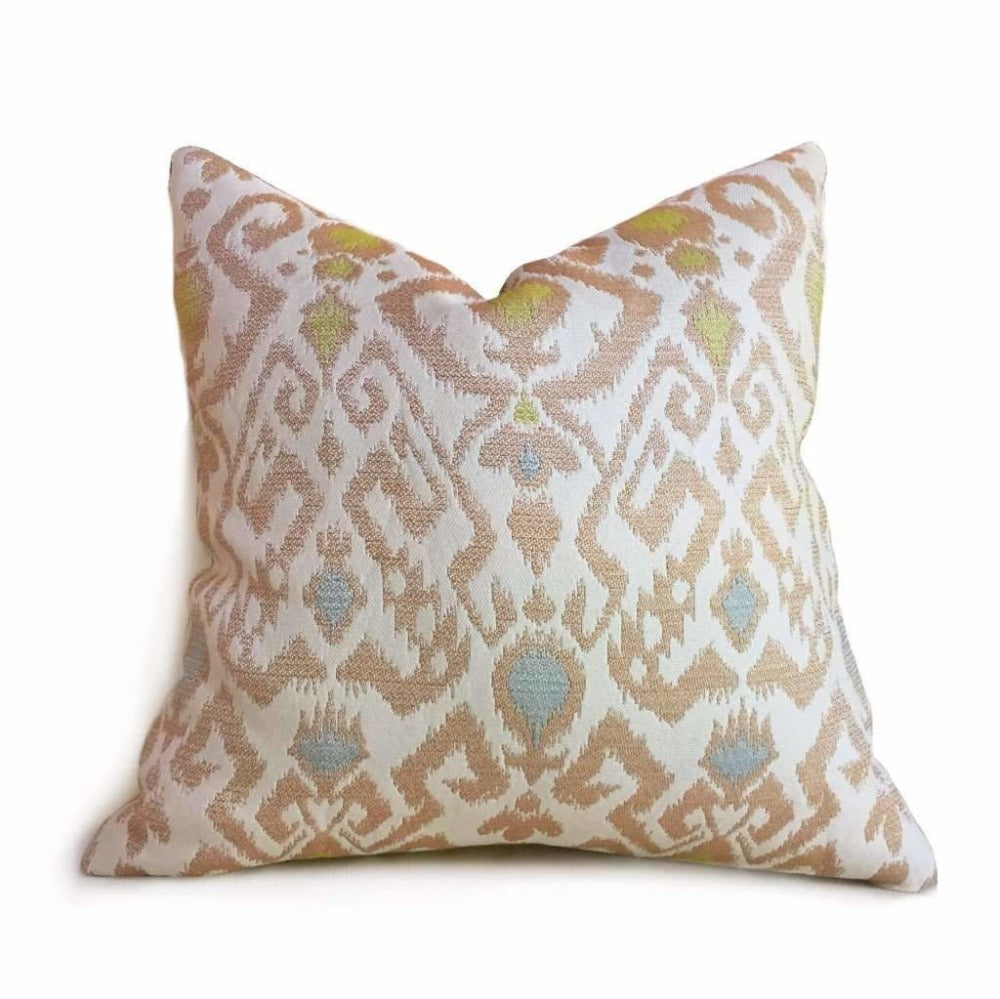 "Designer Beige Brown Green Blue Ikat Ethnic Pillow Cover Fits 12x18, 12x24, 14x20, 16x26 16"" 18"" 20"" 22"" 24"" Cushion Inserts"