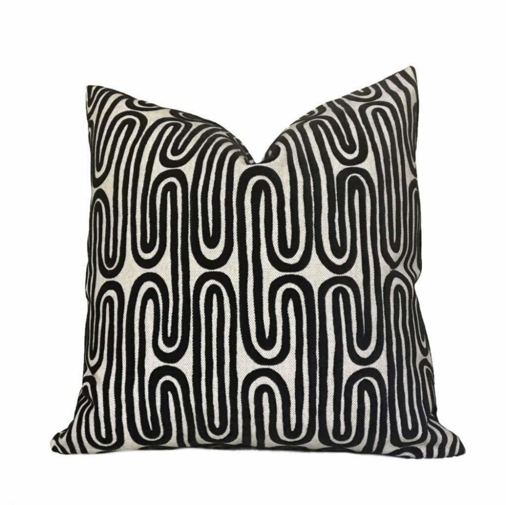 "Designer Black Beige Cut Velvet Geometric Undulating Lines Pillow Cover, Fits 12x18 14x20 16x26 16"" 18"" 20"" 22"" 24"" Cushions"